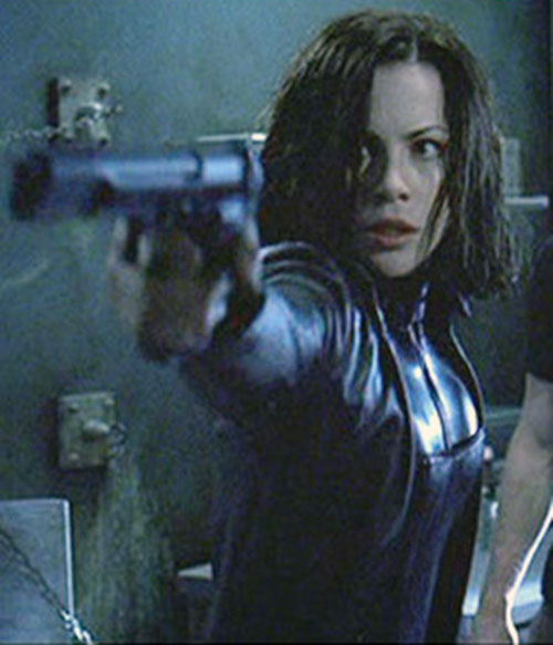 Selene (Kate Beckinsale in Underworld movies) aiming her machine pistol