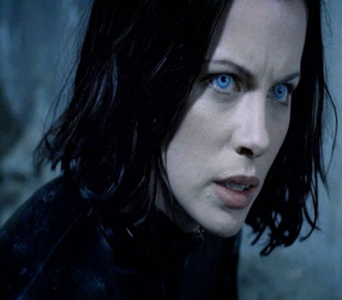 Selene (Kate Beckinsale in Underworld movies) with grey-blue eyes