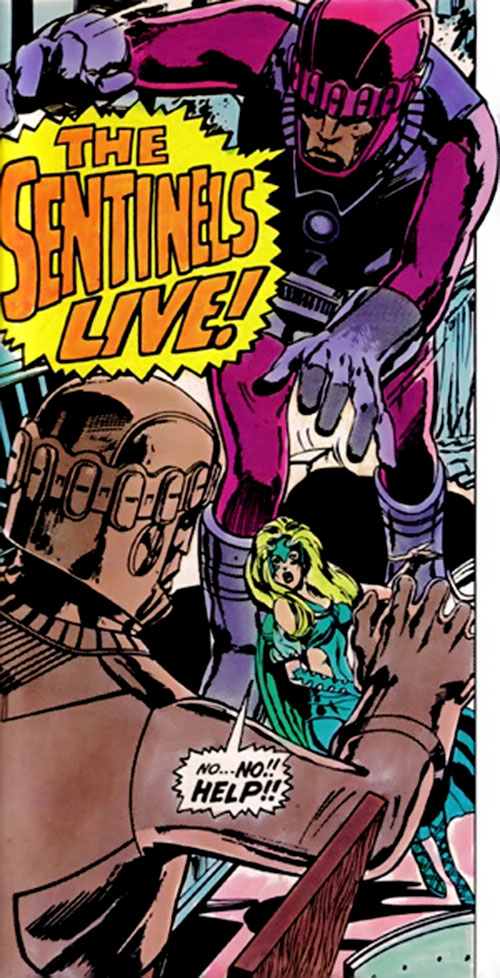 2 Sentinel Mk2 robots surrounding Polaris (Marvel Comics)
