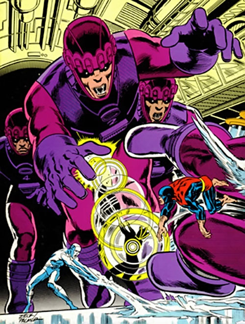 4 Sentinel Mk2 robots attacking the X-Men (Marvel Comics)