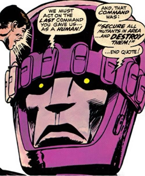 Sentinel Mk2 robot head closeup (Marvel Comics)