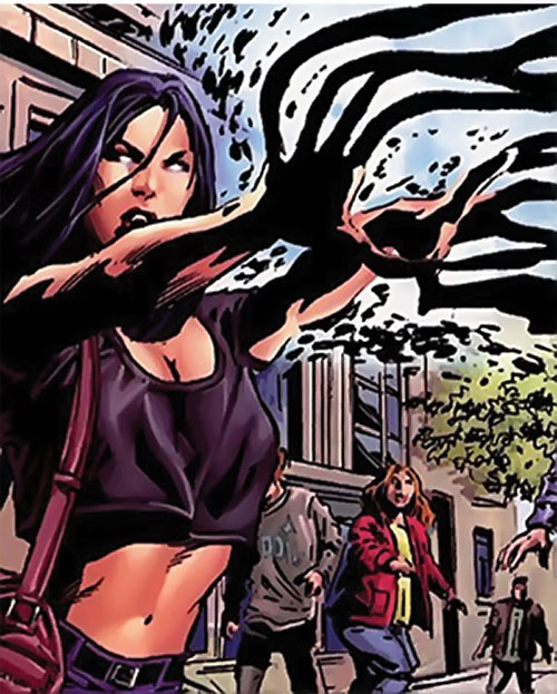 Sepulchre of the Secret Defenders (Marvel Comics) using her powers out of costume