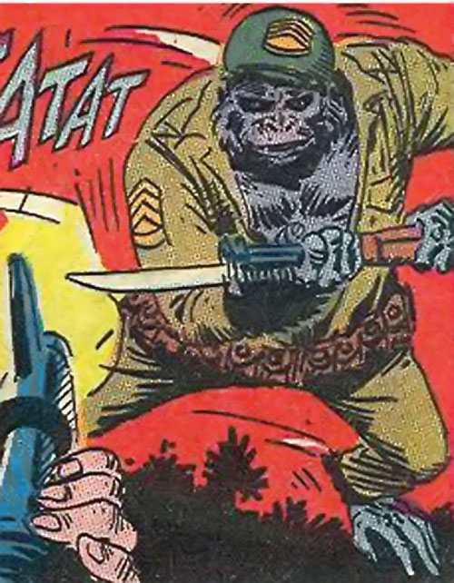 Sergeant Gorilla (DC Comics Star Spangled) with a bayonet, dodging gunfire