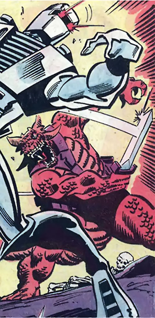 Serpentyne (Rom character) (Marvel Comics) hits the spaceknight with a sword