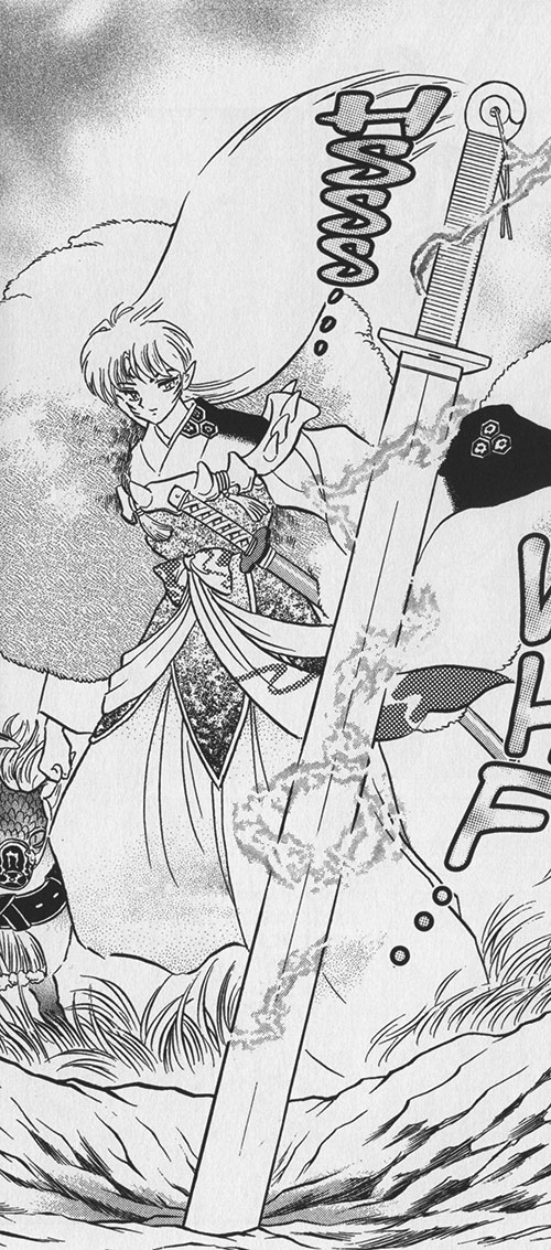 Sesshomaru (InuYasha enemy) and a sword stuck in the ground