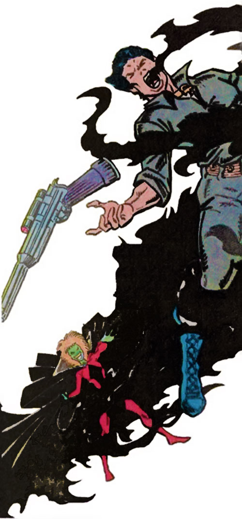 Shaddo of Rancor's Lieutenants (Guardians of the Galaxy enemy) (Marvel Comics) attacking a gunman