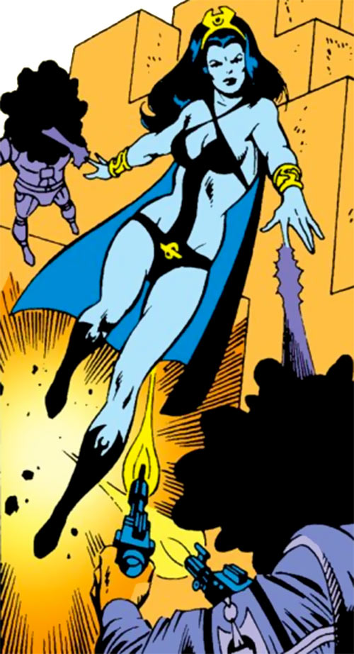 Shadow Lass of the Legion of Super-Heroes (pre-boot DC Comics) flying and shooting darkness