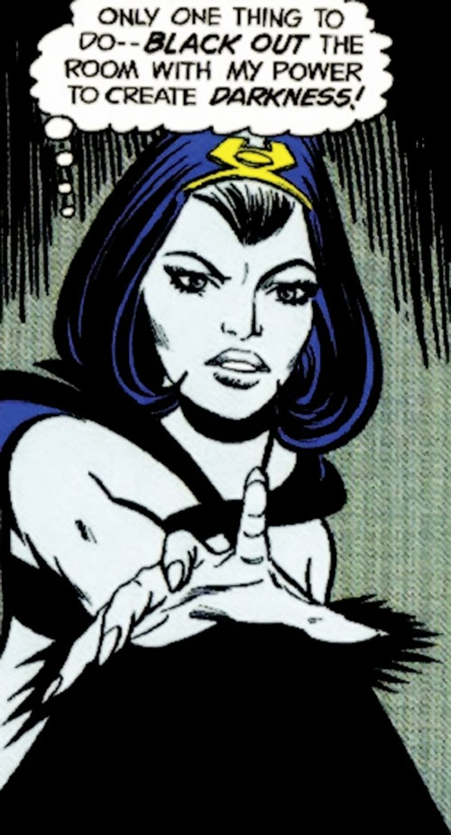 Shadow Lass of the Legion of Super-Heroes (pre-boot DC Comics) using her darkness