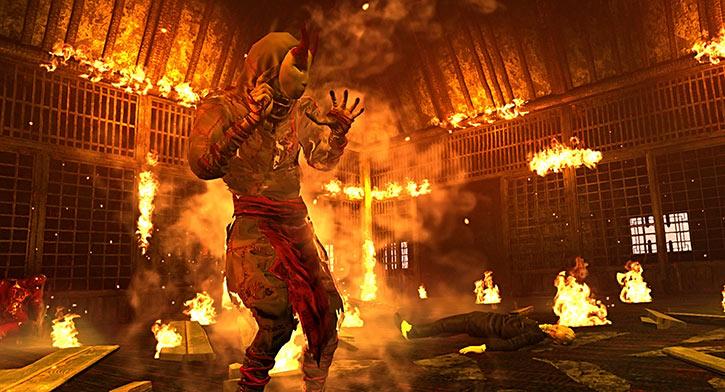 Shadow Warrior 2013 video game reboot - Hoji in burning hall
