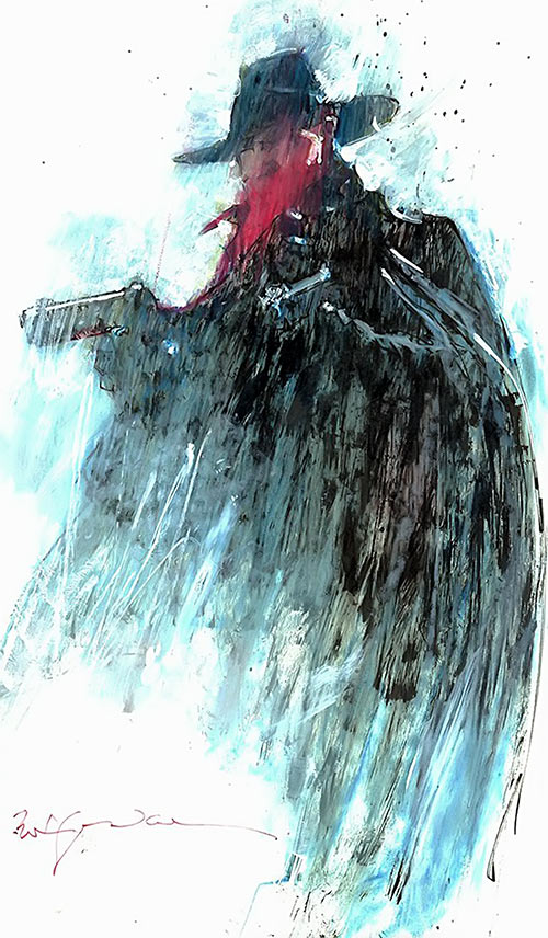 The Shadow from comics and pulps - painting by Bill Sienkiewicz