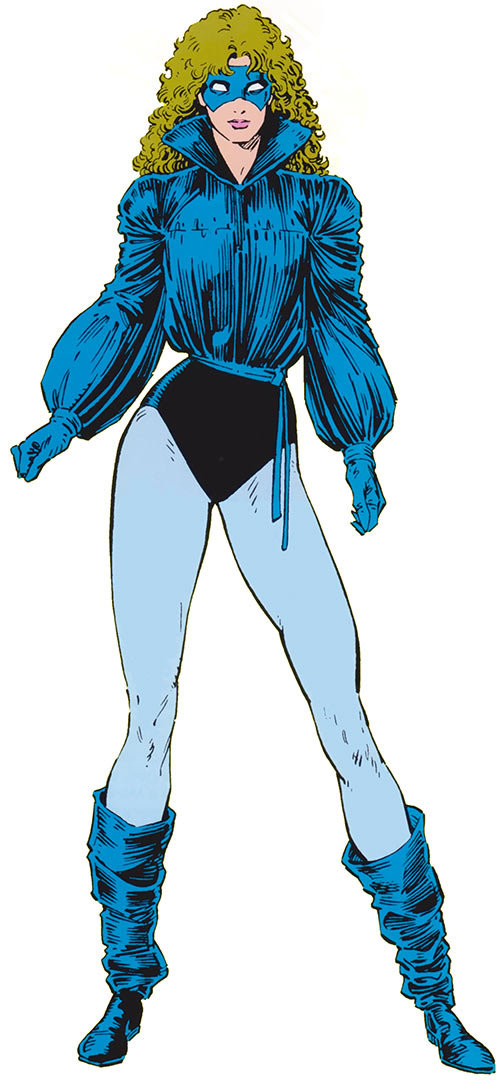 Shadowcat of the X-Men (Kitty Pryde) (Marvel Comics) with the blue costume, by Art Adams