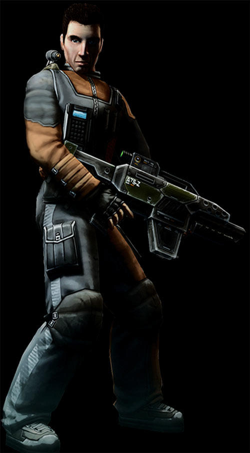 Wesley Tyler (Shadowgrounds video game) black background