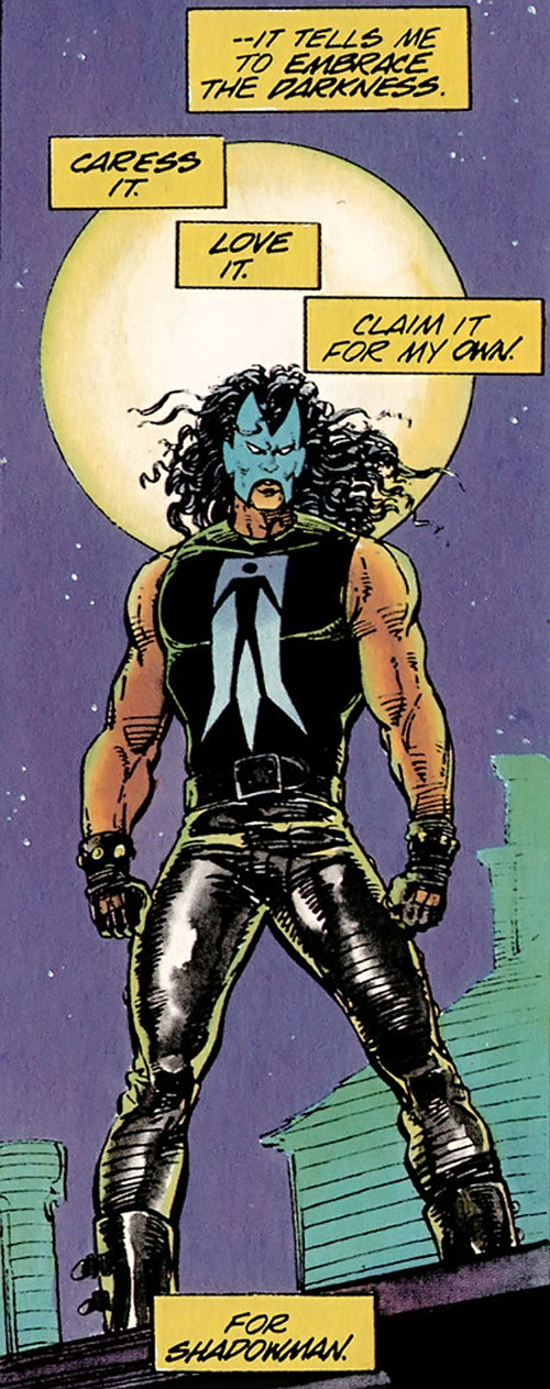 Shadowman (original Valiant Comics 1990s) on a rooftop with the full moon