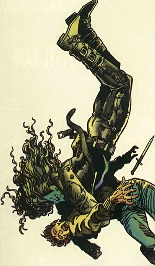 Shadowman (original Valiant Comics 1990s) dives onto a guy with a knife