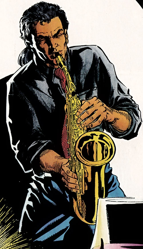 Shadowman (original Valiant Comics 1990s) playing saxophone in a club