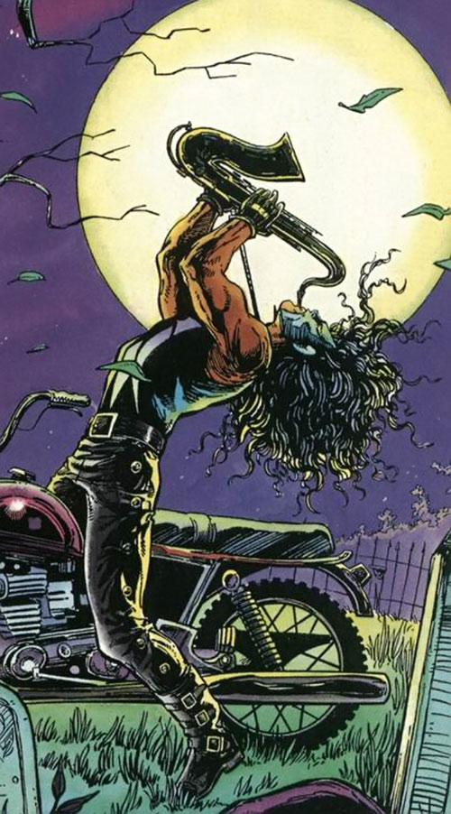 Shadowman (original Valiant Comics 1990s) playing saxophone under the moon