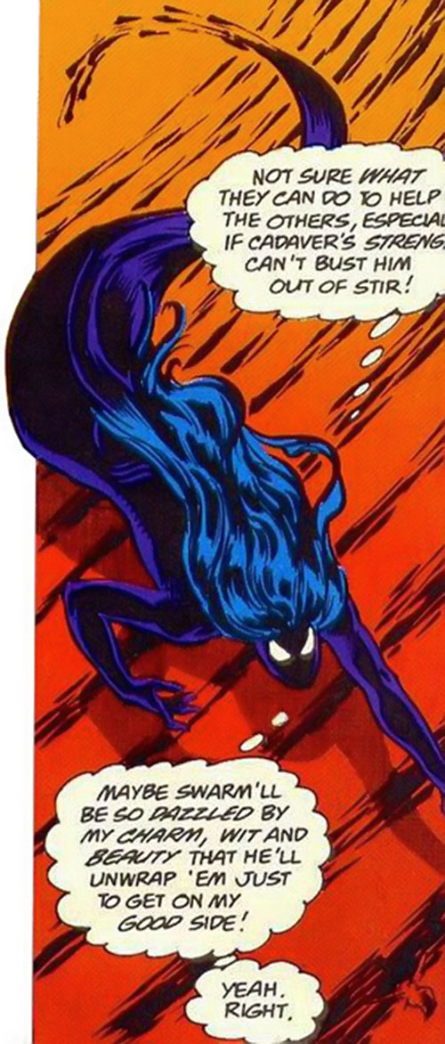 Shadowoman of the Secret Defenders (Marvel Comics) flying in an almost snake-like form