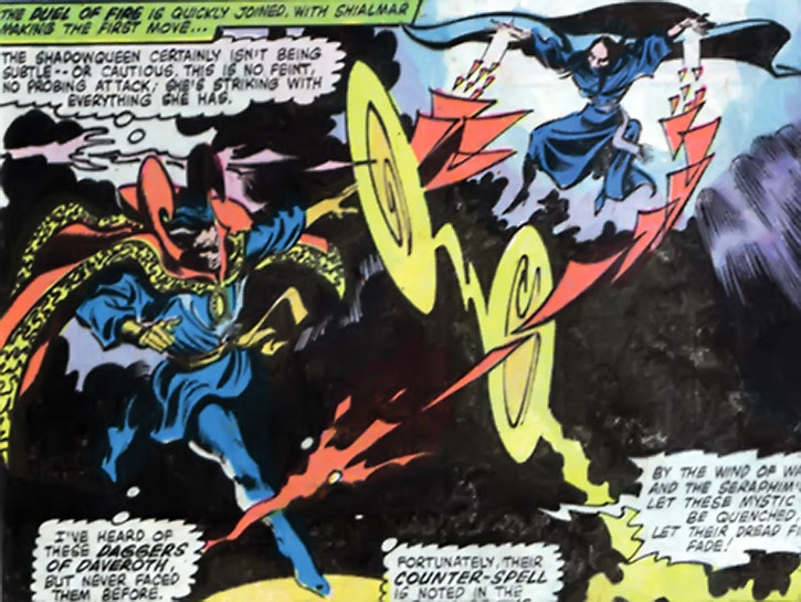 The Shadowqueen attacks Doctor Strange with the Daggers of Daveroth