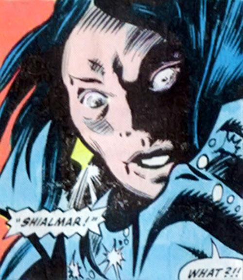 Shadowqueen (Doctor Strange enemy) (Marvel Comics) face closeup surprise