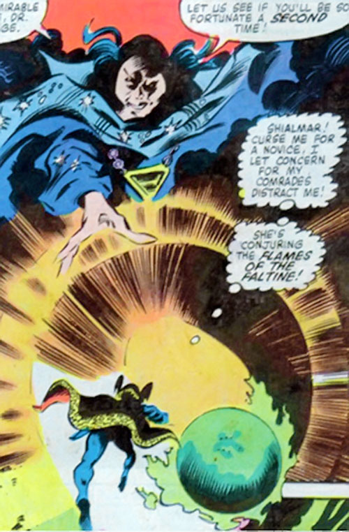 Shadowqueen (Doctor Strange enemy) (Marvel Comics) conjuring the flames of the Faltine