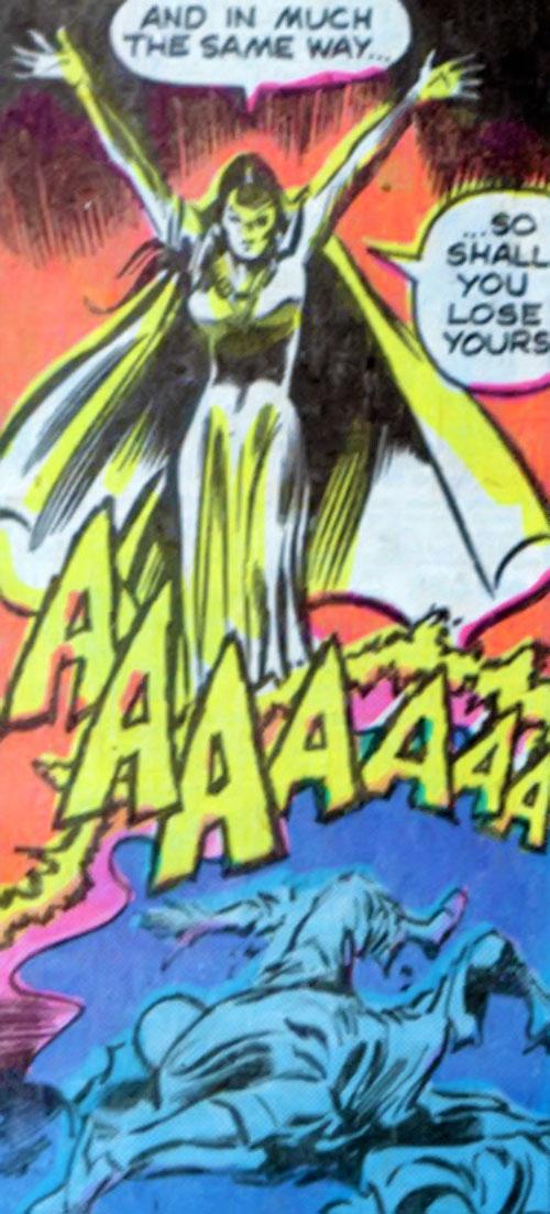 Shadowqueen (Doctor Strange enemy) (Marvel Comics) blasting Wong