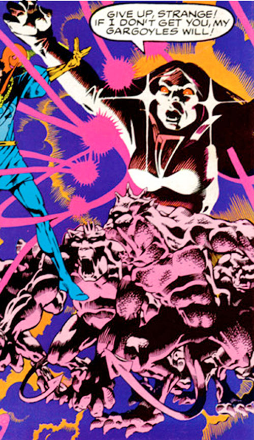 Shadowqueen (Doctor Strange enemy) (Marvel Comics) and some gargoyles