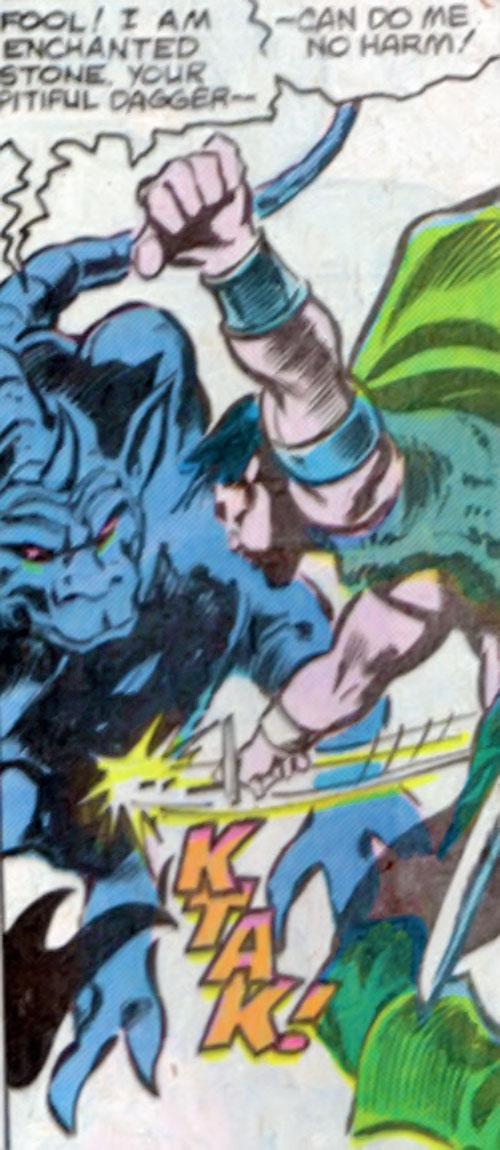Shadowqueen gargoyle ignoring a dagger thrust