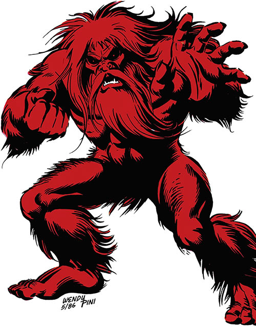 The Shaggy Man (DC Comics) by Wendy Pini, over a white background
