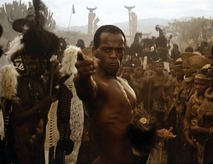 Shaka Zulu (Henri Cele) pointing among a crowd