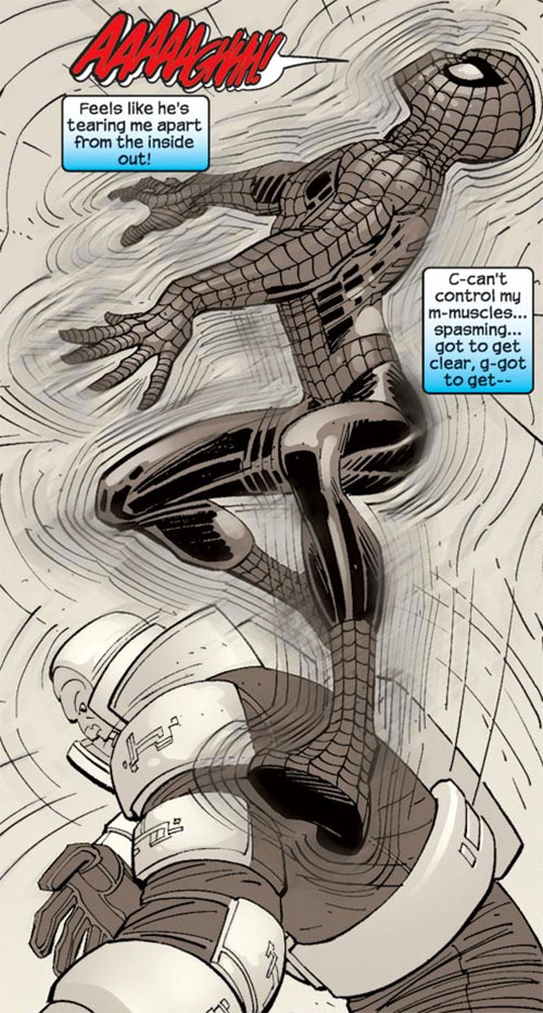 Spider-Man hit by the Shaker's vibration field (Marvel Comics)