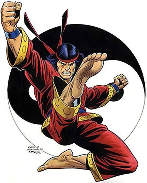 Shang-Chi the Master of Kung Fu (Marvel Comics) and a yin-yang symbol