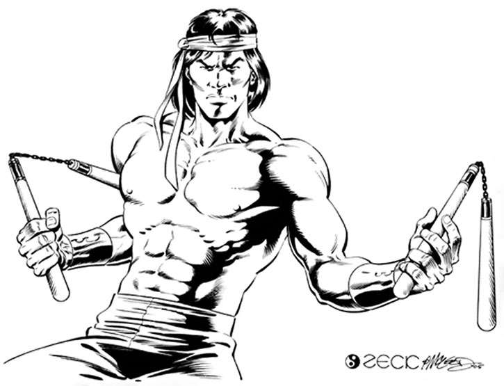 Shang Chi with paired nunchaku sketch by Mike Zeck