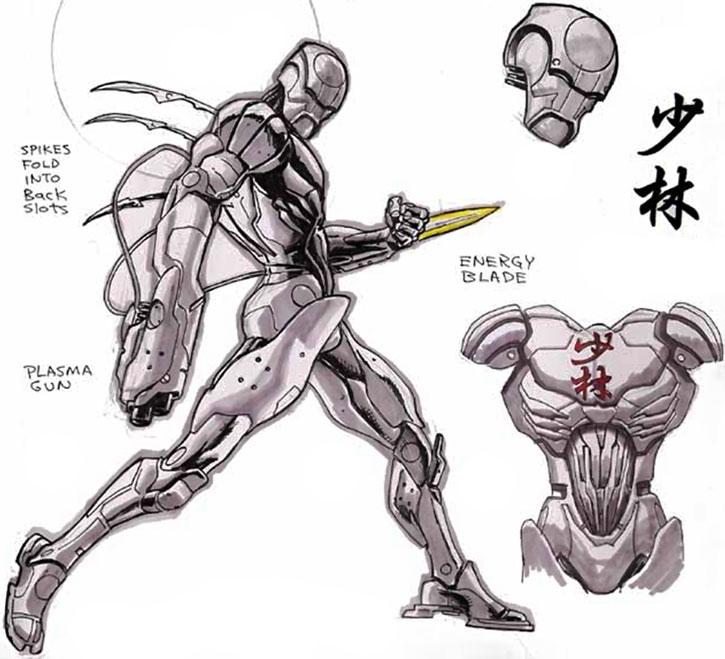 Shaolin robot design character sheet