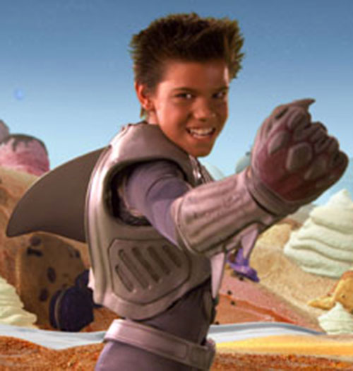 Sharkboy (Taylor Lautner in Sharkboy and Lavagirl) raised fist
