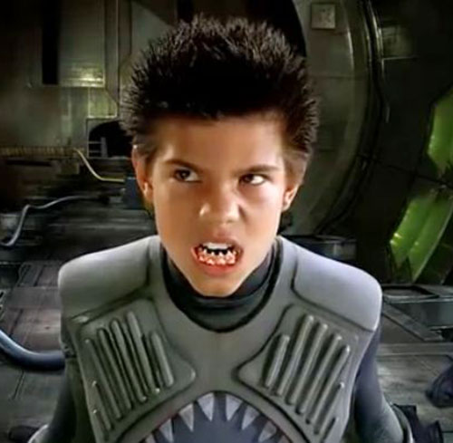 Sharkboy (Taylor Lautner in Sharkboy and Lavagirl) baring his teeth
