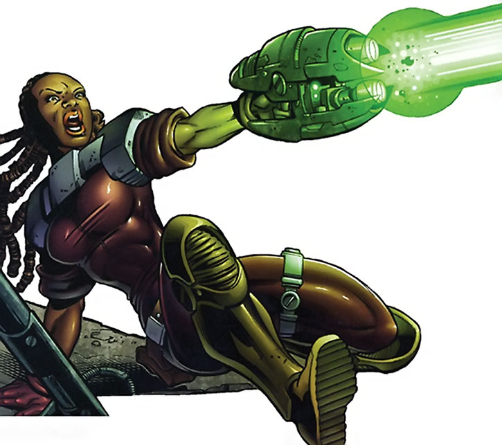 Shassa shooting an energy gun over a white background