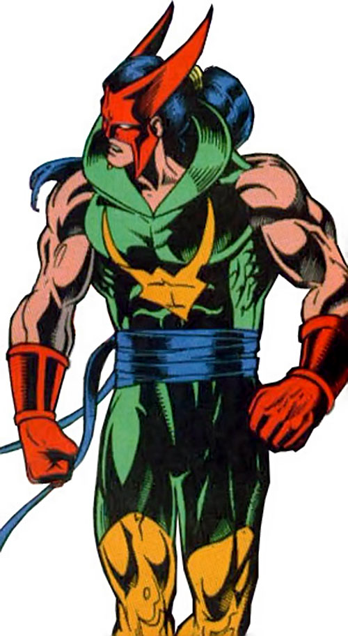 Shatterfist of the Cadre (JLA enemy) (DC Comics) in his green costume