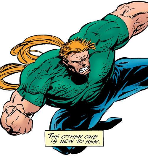 Shatterhead (Elektra enemy) (Marvel Comics) does a leaping kick