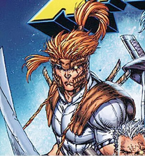 Shatterstar of X-Force (Marvel Comics) face closeup by Liefeld