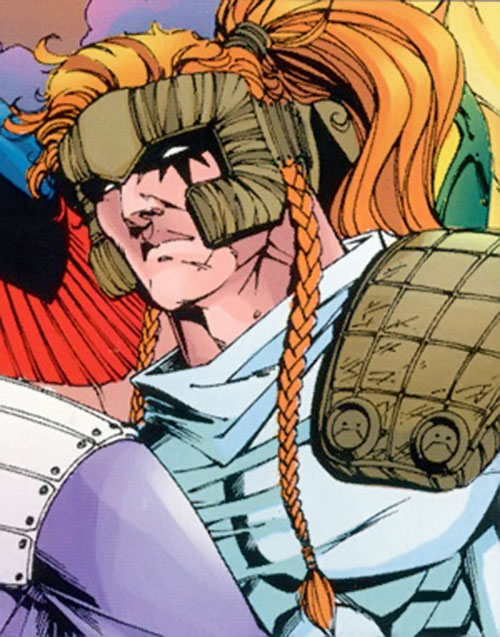 Shatterstar of X-Force (Marvel Comics) face closeup with headgear