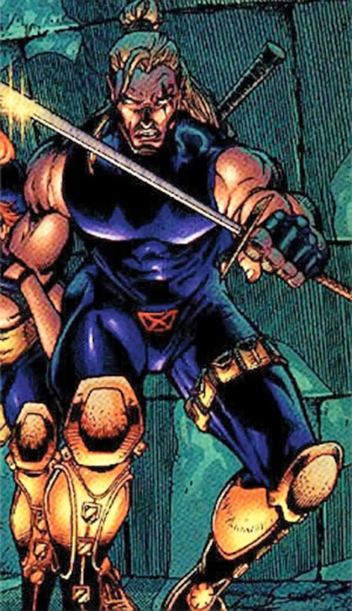 Shatterstar of X-Force (Marvel Comics) in the violet costume with yellow boots