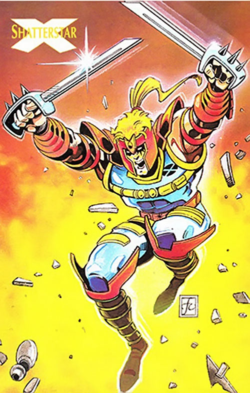 Shatterstar of X-Force (Marvel Comics) dual-wielding swords