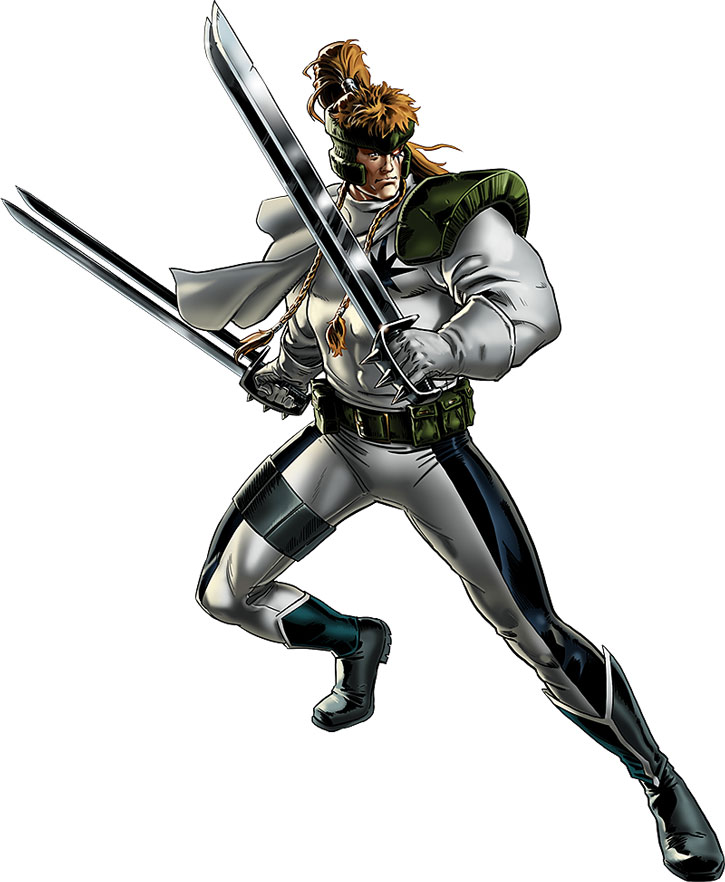 Shatterstar posing on white background