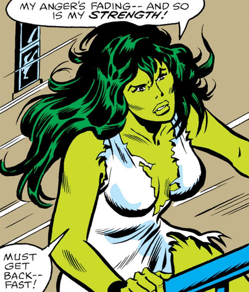 She-Hulk (Marvel Comics) (Early) in shredded white clothing