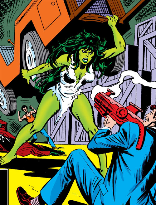 She-Hulk (Marvel Comics) (Early) about to throw a forklift