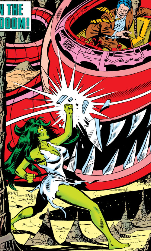 She-Hulk (Marvel Comics) smashes a toothy mecha in a cavern
