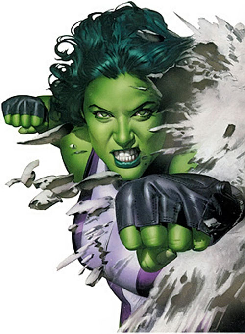She-Hulk (Marvel Comics) punching through an obstacle