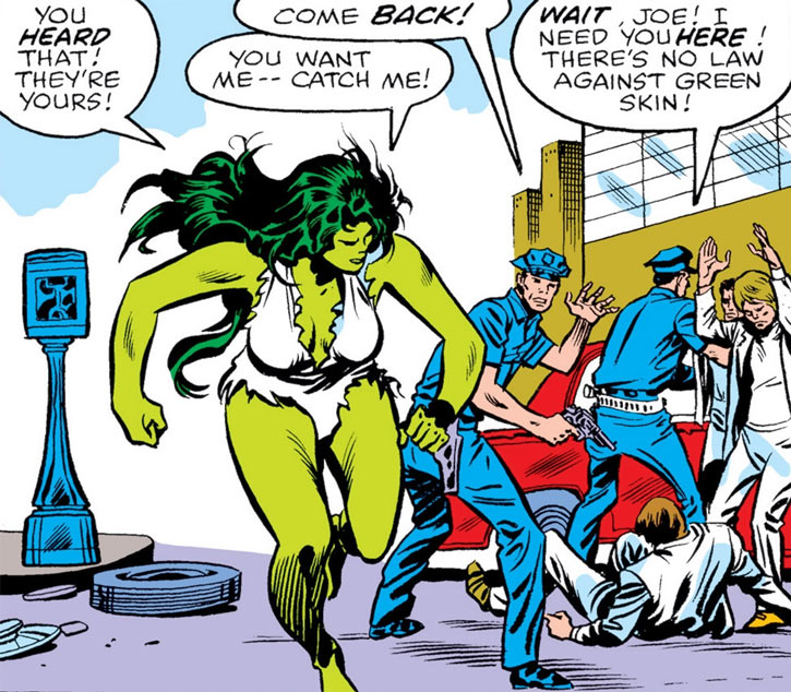 She-Hulk and two cops