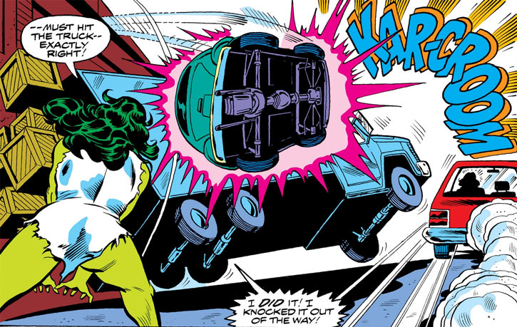 She-Hulk (Marvel Comics) (Early) throws a VW Beetle at a truck