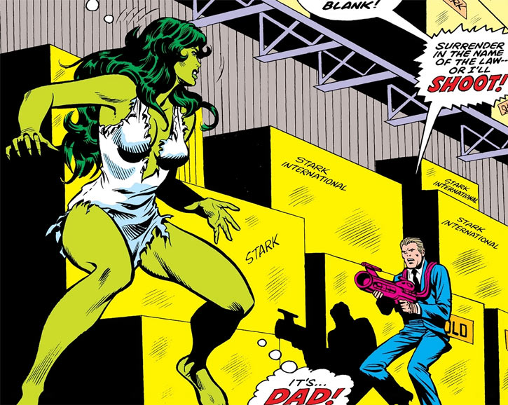 She-Hulk (Marvel Comics) (Early) faces her dad in a warehouse